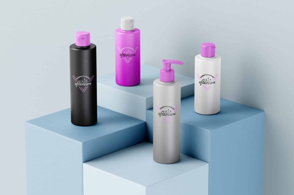 Aftercare products displayed in bottles with logo and blue background